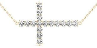 14KT 1.00 CT East-West Round Cut Diamond Cross Pendant Necklace Amcor Design