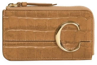 Chloé C Croc-Embosssed Leather Zip Card Holder