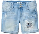Mudd Girls 7-16 & Plus Size Light Wash Patch Midi Jean Shorts