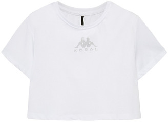 Koral Appliqued Cropped Stretch-jersey T-shirt