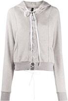 Unravel Project lace fastened hoodie