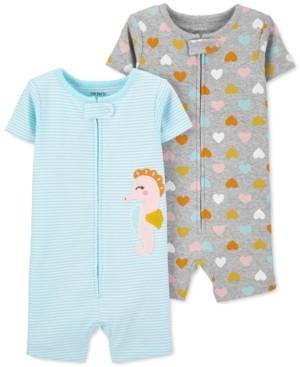 Carter's Baby Girls 2-Pk. Seahorse & Heart-Print Cotton Romper Pajamas