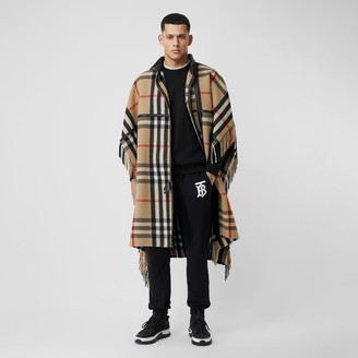 Burberry Check Wool Blend Zip-front Cape