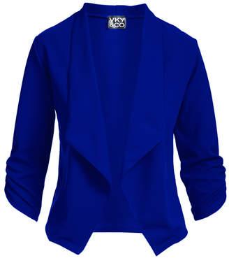 Vky & Co VKY & CO Women's Blazers ROYAL - Royal Blue Crepe-Knit Three Quarter-Sleeve Open-Front Blazer - Women & Plus