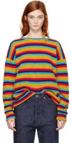 The Elder Statesman Multicolor Cashmere Sunset Stripe Sweater