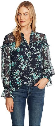 CeCe Long Sleeve Breezy Bouquet Clip Dot Button-Down Blouse (Night Shade) Women's Clothing