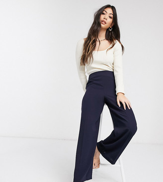 ASOS DESIGN Petite wide leg trousers with clean high waist