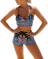 Leezeshaw Women Vintage Floral Strappy Tankini Top with Boyshort 2Pcs Set Swimsuit