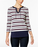 Charter Club Petite Lace-Up Striped Henley Top, Only at Macy's