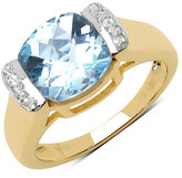 Olivia Leone 14K Yellow Gold Plated Sterling Silver Blue Topaz & White Topaz Ring