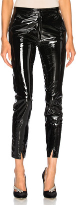ZEYNEP ARCAY Patent Leather Pants with Ankle Slits in Black | FWRD
