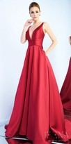 Mac Duggal V-Shape Plunging Mikado A-line Evening Dress