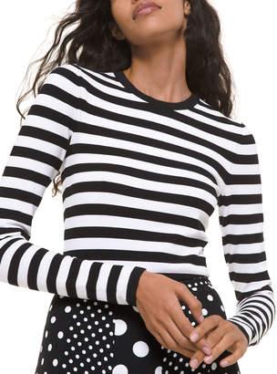 Michael Kors Striped Long-Sleeve Bodysuit