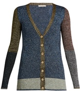 Christopher Kane Contrast-panel metallic-knit cardigan