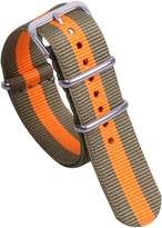AUTULET Green/Orange Super Soft Preppy Look Men's NATO Style Nylon Canvas Watch Bands Straps Replacement