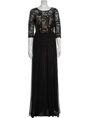 Alice + Olivia Scoop Neck Long Dress Black