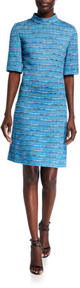 St. John Artisanal Space Dyed Striped 1/2-Sleeve Dress