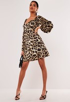 Missguided Stone Leopard Print Milkmaid Skater Dress