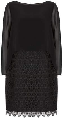 Mint Velvet Black Lace Cape Layered Dress