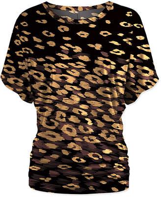 Udear UDEAR Women's Blouses Print - Black & Brown Leopard Dolman Top - Women & Plus