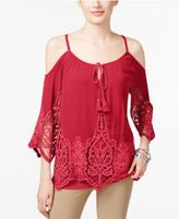 INC International Concepts Cold-Shoulder Peasant Top, Created for Macy's