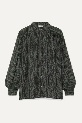 Anine Bing Caleb Oversized Animal-print Silk-crepon Blouse - Forest green