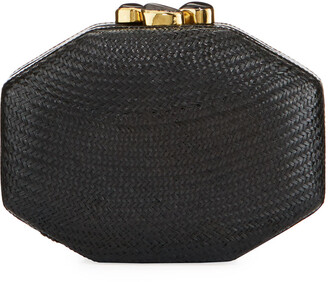Rafe Sofia Straw Clutch Bag, Black