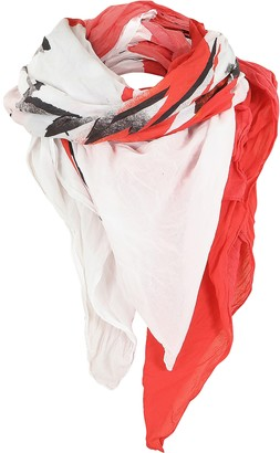 Balmain White and Red Cotton Printed Oversized Scarf