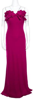 Giambattista Valli Pink Silk Jersey Ruffled Bodice Strapless Gown M