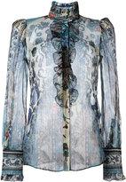 Roberto Cavalli printed sheer shirt