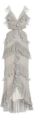 AMUR Elora Ruffled Tiered Georgette Gown
