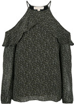 MICHAEL Michael Kors Floral Ruffled Peekaboo top - women - Polyester - XS
