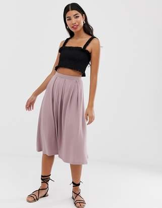 Asos Design DESIGN midi skirt with box pleats-Pink