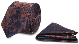 Tu Navy & Rust Floral Tie With Pocket Square