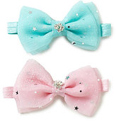 Starting Out Baby Girls 2-Pack Crystal Detailed Bow Headbands