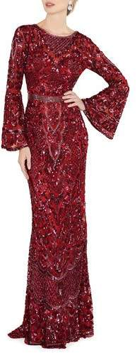 Mac Duggal Sequin Bell-Sleeve Column Gown with Open Back