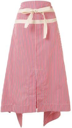 Plan C Striped A-Line Skirt