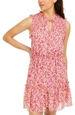 BeBop Juniors' Smocked Floral-Print Dress