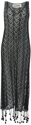 Jil Sander Pompom-hem Crochet-cotton Dress - Black