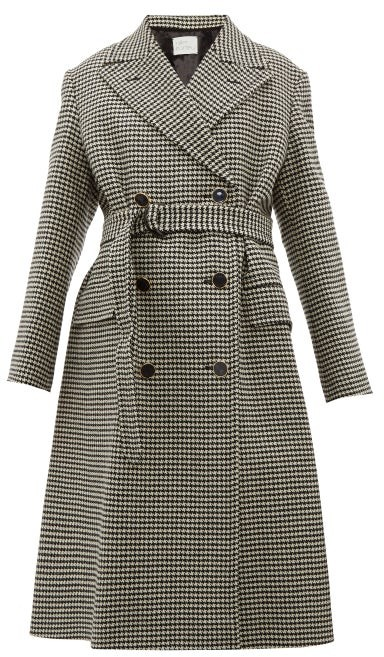 Hillier Bartley Double Breasted Houndstooth Wool Coat - Womens - Black Multi