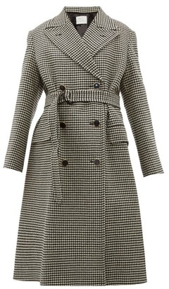 Hillier Bartley Double-breasted Houndstooth Wool Coat - Womens - Black Multi