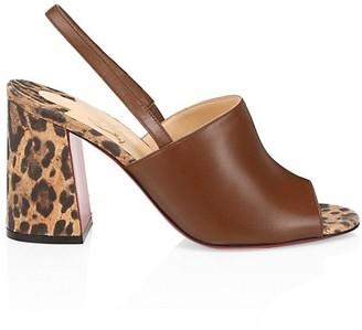 Christian Louboutin Leopard-Print & Leather Slingback Sandals