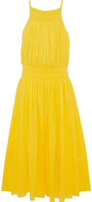 Three Graces London Shirred Crinkled Cotton-gauze Maxi Dress