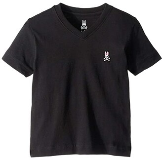 Psycho Bunny Kids V-Neck Tee (Toddler/Little Kids/Big Kids) (Black) Boy's T Shirt