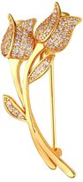 U7 Platinum Plated Rose Pin Brooch with Cubic Zirconia Girls Women Fashion Jewelry