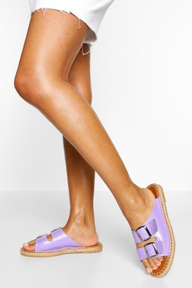 boohoo Double Strap Espadrille Footbed Sliders