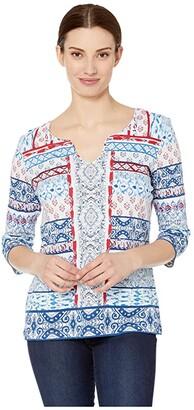 Tribal 3/4 Sleeve Henley Top (Mint) Women's Clothing