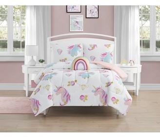 Beco Home Unicorn Diamond 4 Piece Comforter Set with decor pillow Full