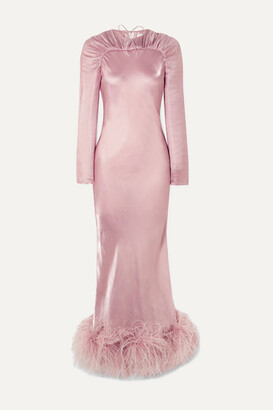 16Arlington Astair Open-back Feather-trimmed Ruched Satin Gown - Pink