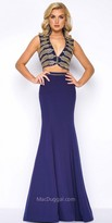 Mac Duggal Nautical Jersey Crepe Two Piece Evening Dress